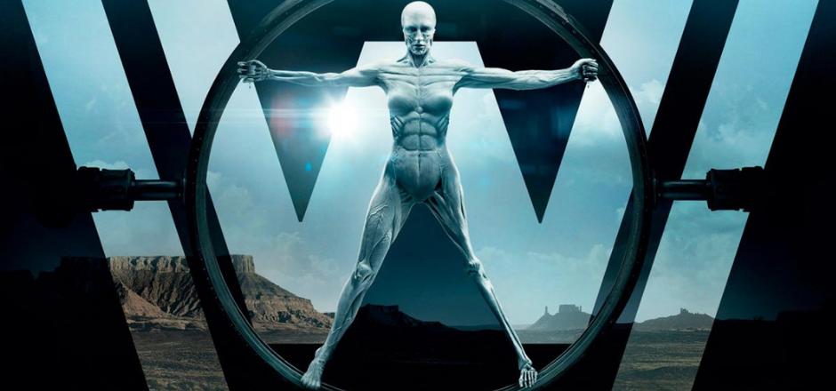 Robot con brazos y piernas abiertos en la posición del Hombre de Vitrubio