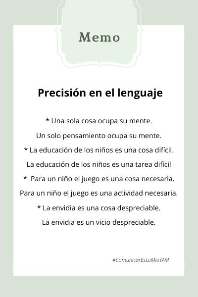 imagen con ejemplos de como hablar con precisión