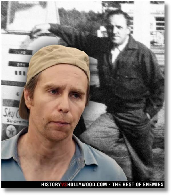 foto del actor que interpreta a C.P. Ellis junto a foto real