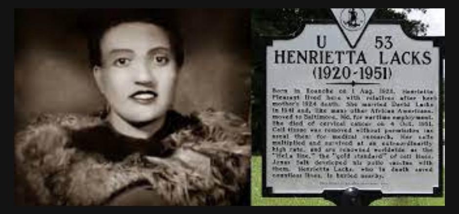 fotografía de Henrietta lacks junto a cartel en carretera