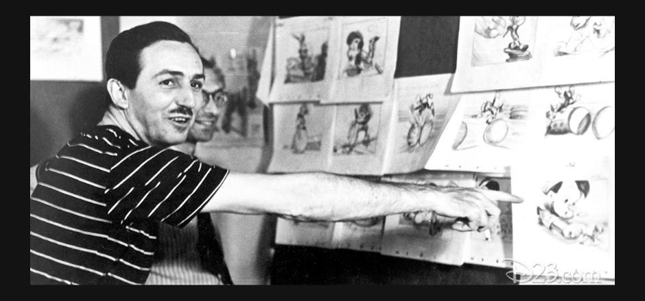 Walt Disney en su despacho junto a sus bocetos de dibujo