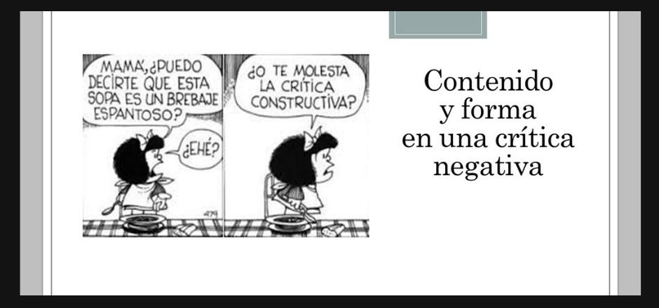 Mafalda hablando sobre la crítica